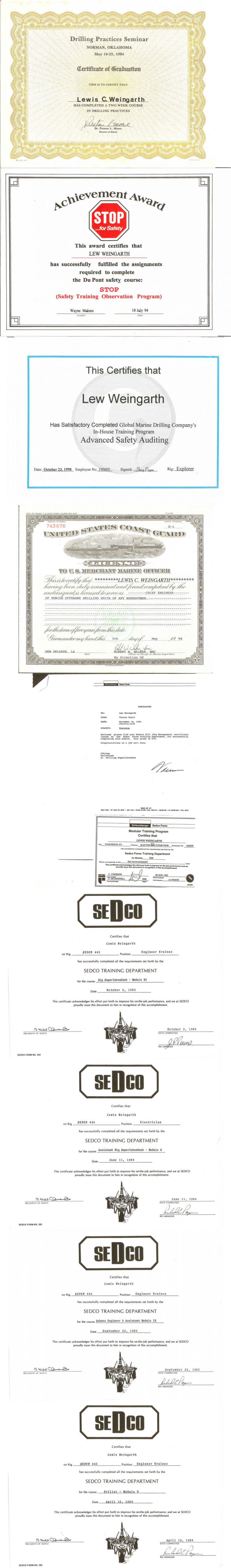 drilling related certificates